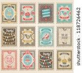vector postage stamps set.... | Shutterstock .eps vector #118726462