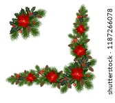 christmas decorations with fir... | Shutterstock .eps vector #1187266078