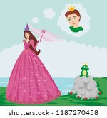 prince enchanted with a frog | Shutterstock . vector #1187270458