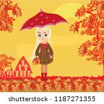 beautiful girl with umbrella | Shutterstock . vector #1187271355