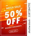 mega sale 50 percent off banner ... | Shutterstock .eps vector #1187284792