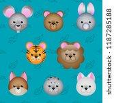 cute cartoon animals face icon... | Shutterstock .eps vector #1187285188