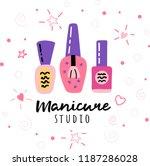 nail salon logo. manicure...   Shutterstock .eps vector #1187286028