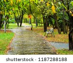 wet footpath in city park in... | Shutterstock . vector #1187288188
