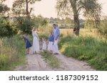 happy family in summer park at... | Shutterstock . vector #1187309152