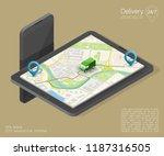 city map navigation route ... | Shutterstock .eps vector #1187316505