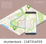 city map route navigation... | Shutterstock .eps vector #1187316535