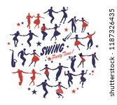 silhouettes of swing dancers... | Shutterstock .eps vector #1187326435