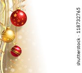 christmas background with gold... | Shutterstock . vector #118732765