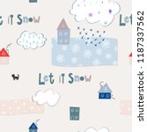 let it snow flakes fall doodles ... | Shutterstock .eps vector #1187337562
