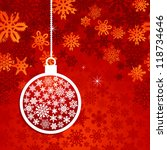 hang christmas bauble over red... | Shutterstock .eps vector #118734646