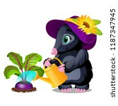 cute animated mole watering... | Shutterstock .eps vector #1187347945