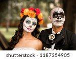 catrin and catrina in cemetery...   Shutterstock . vector #1187354905