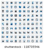 vector color 100 web icons set... | Shutterstock .eps vector #118735546