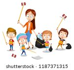 group of kids with teacher... | Shutterstock .eps vector #1187371315