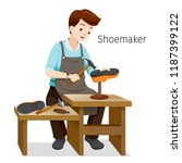 shoemaker repairing man shoes ... | Shutterstock .eps vector #1187399122