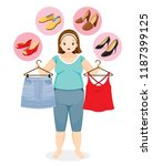 fat woman decide selecting the... | Shutterstock .eps vector #1187399125