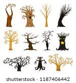 halloween trees  creepy or... | Shutterstock .eps vector #1187406442