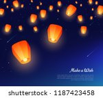 orange paper lanterns floating... | Shutterstock .eps vector #1187423458