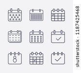 outline 9 week icon set.... | Shutterstock .eps vector #1187425468