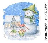Watercolor Winter Scene With...