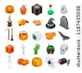 halloween icon set. isometric... | Shutterstock .eps vector #1187435038