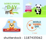 world animal day banner set.... | Shutterstock .eps vector #1187435062