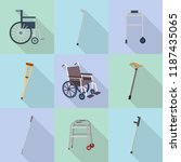 crutches icon set. flat set of... | Shutterstock .eps vector #1187435065