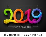 grey happy new year 2019 card... | Shutterstock .eps vector #1187445475