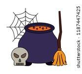 halloween cauldron with broom... | Shutterstock .eps vector #1187447425