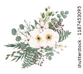 bouquet with leaves and flowers ... | Shutterstock .eps vector #1187453095