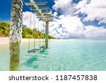 exotic tropical paradise swings ... | Shutterstock . vector #1187457838