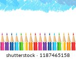 bright multicolor pencils and... | Shutterstock .eps vector #1187465158