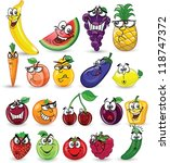 cartoon fruits and vegetables | Shutterstock .eps vector #118747372