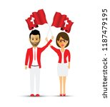 switzerland flag waving man and ... | Shutterstock .eps vector #1187479195