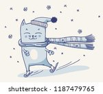 christmas cute skating cat in a ... | Shutterstock .eps vector #1187479765