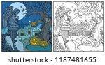 halloween background cemetery... | Shutterstock .eps vector #1187481655