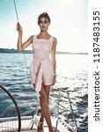 beautiful young sexy brunette...   Shutterstock . vector #1187483155