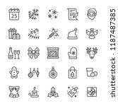 merry christmas flat line icons.... | Shutterstock .eps vector #1187487385