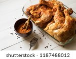 roasted chicken quarters with...   Shutterstock . vector #1187488012