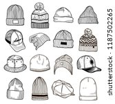 set of fashion men's caps and... | Shutterstock .eps vector #1187502265
