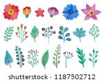 colorful floral set of hand... | Shutterstock . vector #1187502712