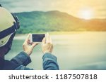 smartphone or mobile on nature... | Shutterstock . vector #1187507818