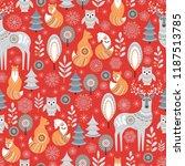scandinavian christmas pattern... | Shutterstock .eps vector #1187513785