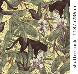 Stock photo  tropical leaves bananas panther and orchid vintage pattern wallpapers with tropical flowers 1187523655
