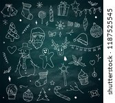christmas doodles sketch pack... | Shutterstock .eps vector #1187525545