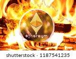 ethereum buring in bonfire ... | Shutterstock . vector #1187541235