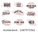 meat food icons with hand drawn ... | Shutterstock .eps vector #1187571562