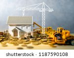 house  crane and construction... | Shutterstock . vector #1187590108