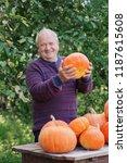 elderly men with orange... | Shutterstock . vector #1187615608